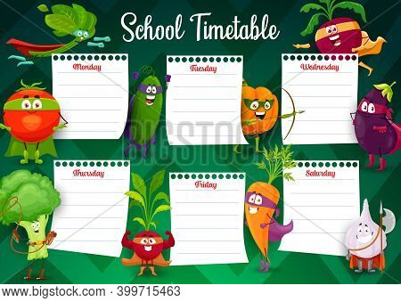 School Timetable Schedule Of Education Vector Template With Superhero Vegetable Characters. Study Pl