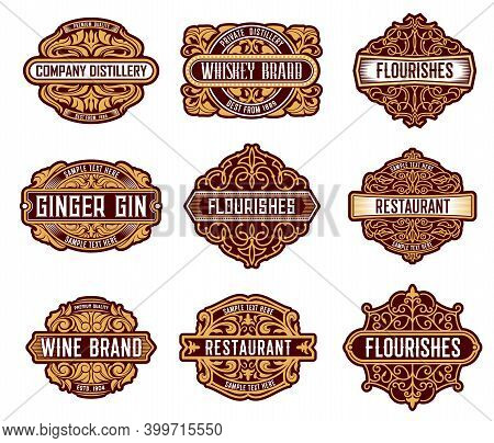 Alcohol Drinks Retro Label Floral Embellishments. Whiskey, Wine And Ginger Gin Beverages Brand Badge