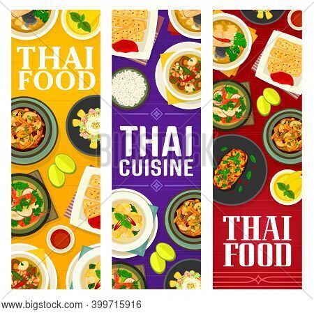 Thai Food Vector Eggplant Salad With Duck, Fish Ginger Soup, Cashew Chicken Gai Pad Med Mamuang. Gre
