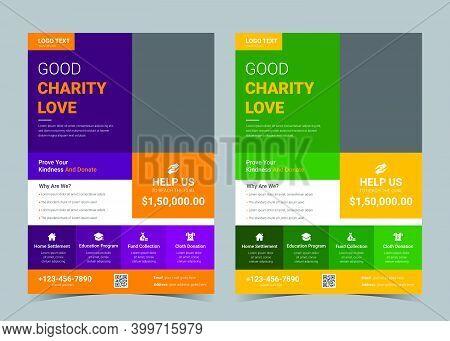Charity Flyer Design Template. Donation Promotion Flyer Design.