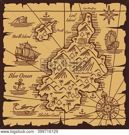 Pirate Treasure Map Old Scroll Vector Sketch Of Islands In Ocean, Pirate Ships, Nautical Compasses A