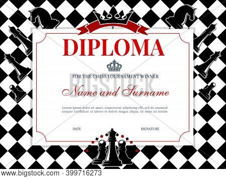 Chess Tournament Winner Diploma Template. Kids Diploma Or Certificate For Chess Competition Achievem