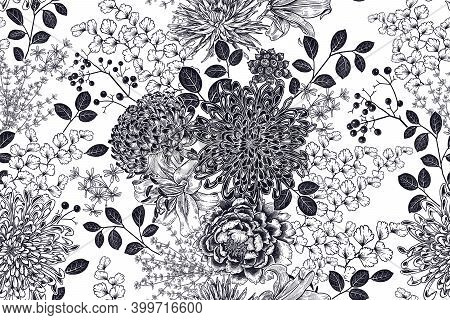 Floral Seamless Pattern. Garden Flowers With Branches, Berries And Leaves. Black Graphic Arts On Whi
