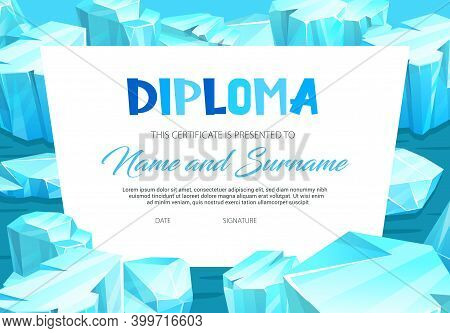 School Education Diploma With Ice Crystals. Vector Template With Precious Or Magic Gems. School Or K