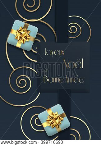 Abstract Christmas Holiday Card In French Language. Snowflakes, Blue Gift Boxes, Text Merry Christma