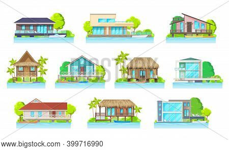Cottage Houses On Lake Or River, Vector Residential Modern Home Buildings With Parked Boats, Bungalo