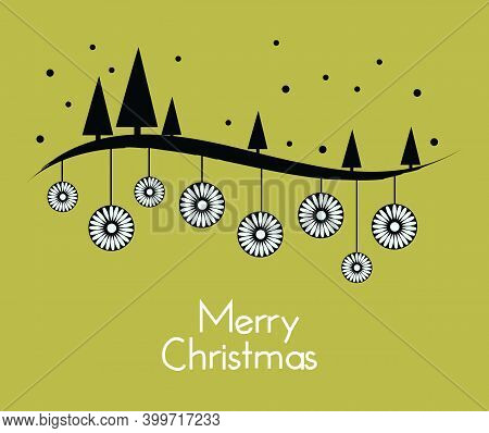 Merry Christmas Green Greeting Card With Oriental Flowers, Trees And Snowflakes Dots