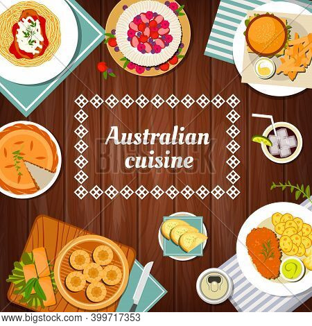 Australian Food Cuisine, Menu Dishes And Meals, Australia Restaurant Vector Dinner And Lunch. Austra