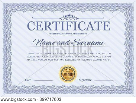 Certificate Vector Template, Diploma Border With Blue Ornate Design. Official Award Frame, Paper Doc