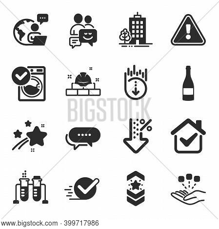 Set Of Business Icons, Such As Consolidation, Communication, Dots Message Symbols. Champagne Bottle,