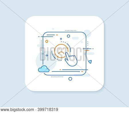 Dislike Line Icon. Abstract Square Vector Button. Negative Feedback Rating Sign. Customer Satisfacti