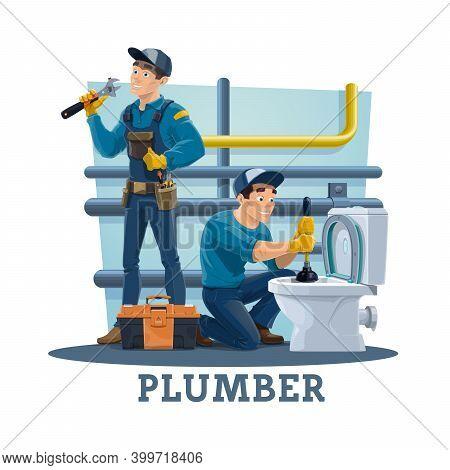 Plumber Unclogging Toilet Bowl With Plunger, Repairing Pipes Leakage. Plumbing Service Repairmen Usi