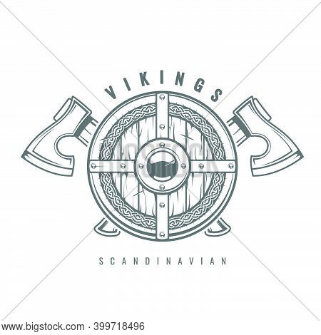 Round Viking Shield With Crossed Axes And Celtic Pattern, Medieval Wooden Armor With Hatchets, Old S