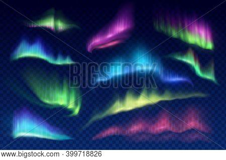 Arctic Aurora Borealis, Vector Polar Lights, Northern Natural Phenomena Isolated On Transparent Back