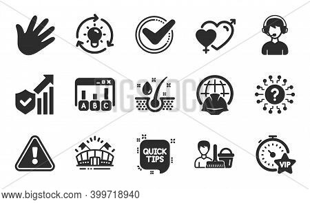 Idea, Consultant And Security Statistics Icons Simple Set. Vip Timer, Serum Oil And Confirmed Signs.