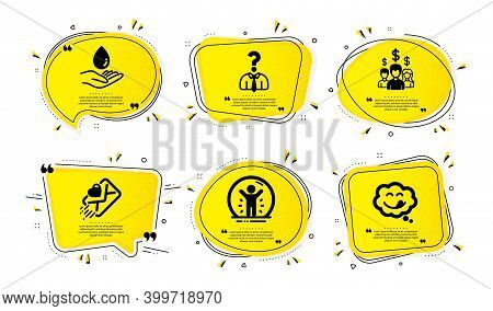 Water Care, Salary Employees And Recovered Person Icons Simple Set. Yellow Speech Bubbles With Dotwo