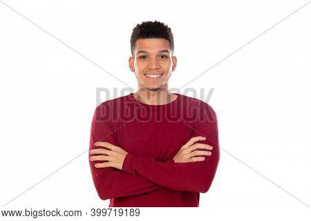 Latin guy with short afro hair isolated on white background