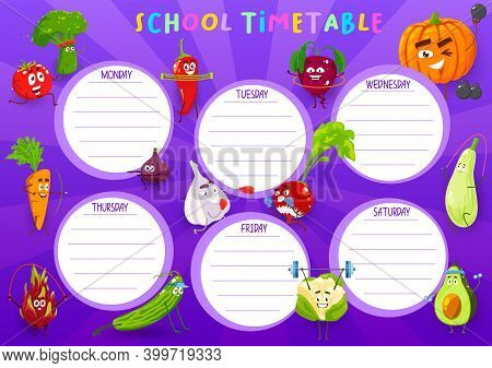 School Timetable Vector Template With Cartoon Vegetables Sportsmen. Education Kids Time Table Schedu