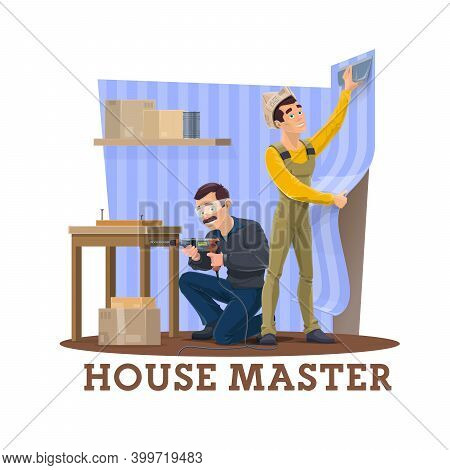 House Repair Master. Home Renovation Service Worker In Uniform, Using Electric Drill And Assembling