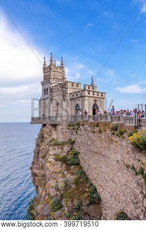 Crimea, Russia - 23 February 2017: Medieval Castle Swallow's Nest Located On High Rocky Hill On The