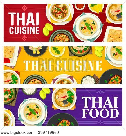 Thai Food Vector Fish Ginger Soup, Green Chicken Curry, Fried Spring Rolls, Prawn Vegetable Soup. To