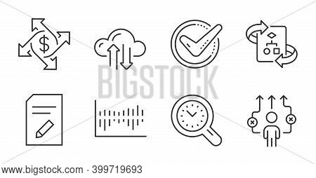 Cloud Sync, Column Diagram And Edit Document Line Icons Set. Time Management, Confirmed And Technica
