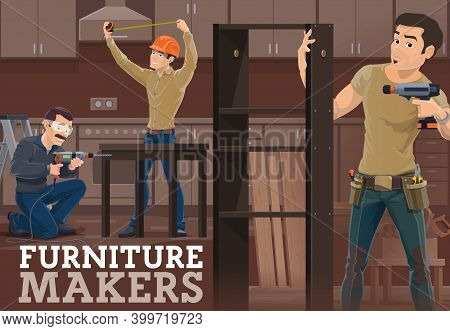 Furniture Maker Measuring Kitchen Room, Assembling Table. Worker Using Drill, Handyman With Screwdri