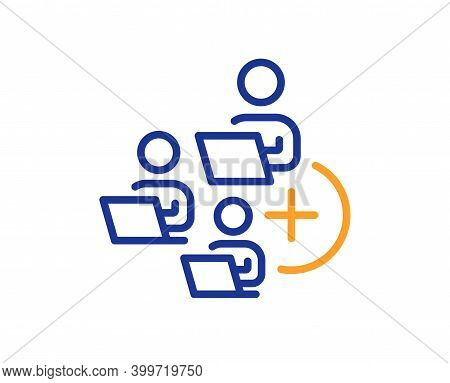 Add Team Line Icon. Teamwork Sign. Remote Team Employees Symbol. Quality Design Element. Line Style