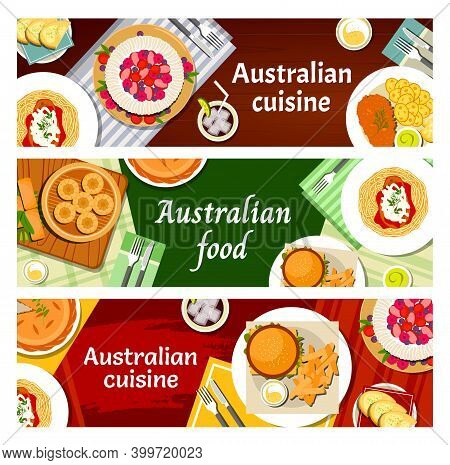 Australian Food Cuisine, Menu Meals Dishes, Australia Restaurant Vector Banners. Australian Traditio