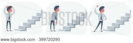Man Looking At The Stairway Of New Opportunities Or Challenges. Vector Flat Design Illustration.