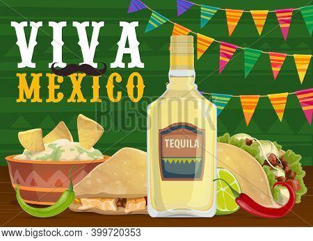 Mexican Fiesta Party Food And Drink, Vector Viva Mexico Design. Taco And Nachos With Avocado Guacamo