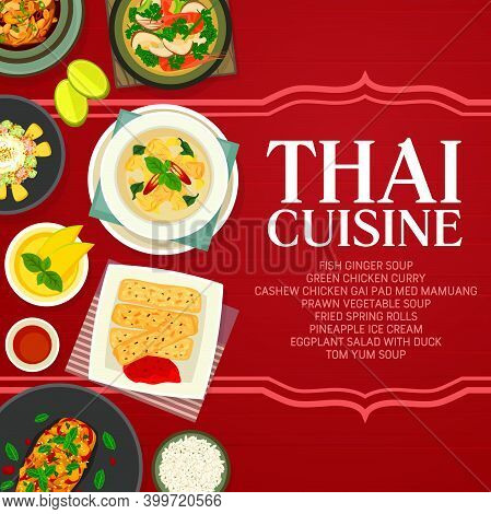Thai Cuisine Vector Pineapple Ice Cream, Fish Ginger Soup And Cashew Chicken Gai Pad Med Mamuang Wit
