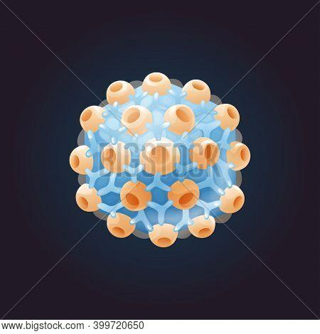 Cartoon Model Of Herpes Virus. External Structure