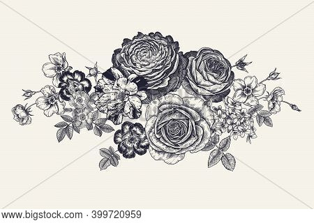Vintage Garland Of Beautiful Flowers. Peonies, Roses And Leaves. Vector Illustration. Black And Whit