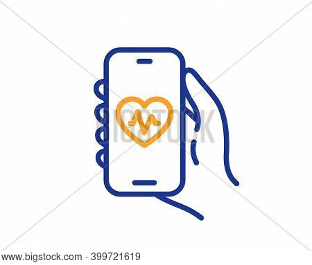 Health App Line Icon. Hand Hold Phone Sign. Cellphone With Screen Notification Symbol. Quality Desig