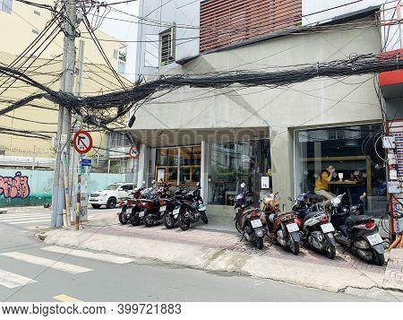 May 10, 2019 Ho Chi Minh City, Vietnam: Exterior Design Coffee Shop At Hcmc..