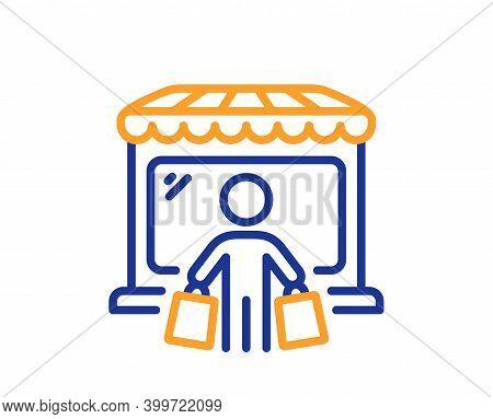 Market Buyer Line Icon. Wholesale Store Customer Sign. Retail Marketplace Client Symbol. Quality Des