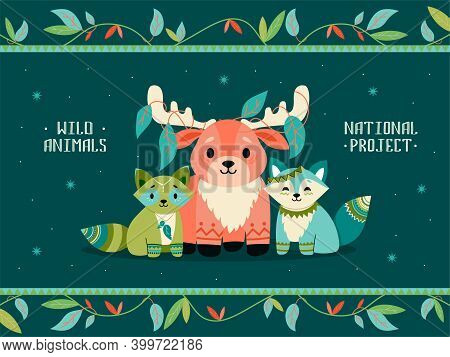 Cover Design With Boho Animals. Cute Raccoon, Fox, Reindeer With Decorations. Vector Illustrations W