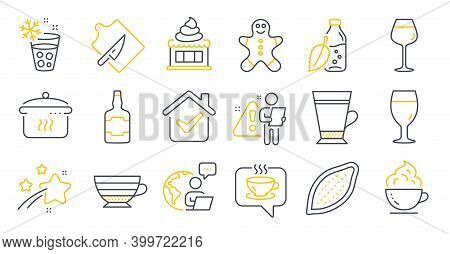 Set Of Food And Drink Icons, Such As Ice Maker, Latte, Boiling Pan Symbols. Coffee Cup, Cappuccino,
