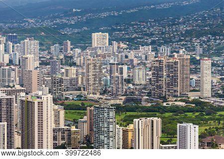 Waikiki Hotels And Offices Along Ala-wai Canal, Oahu, Hawaii