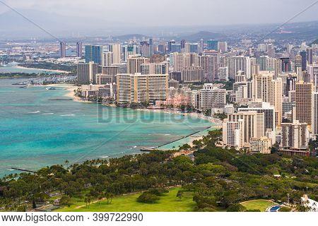 Waikiki Beach, Waikiki Town, And Honolulu Area, Oahu, Hawaii