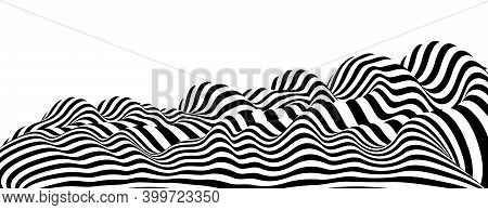 Abstract Vector 3d Lines Background, Black And White Curves Linear Perspective Dimensional Terrain O