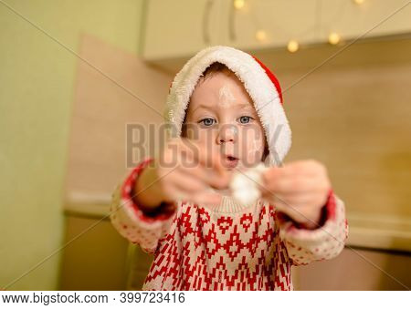 Beautiful Child Is Preparing The Dough, Bake Cookies In The Kitchen. Funny Boy Cooking Christmas Coo