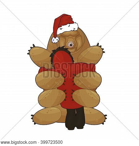 Happy Cartoon Tardigrade With Santa Hat Sits On The Ground And Gives A Hug To A Human In Coat