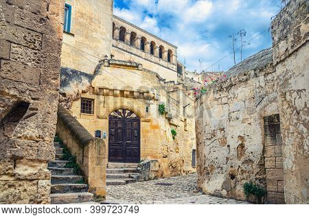 Street With Old Stone Houses And Buildings In Sassi Di Matera Town Historical Centre Sasso Caveoso,