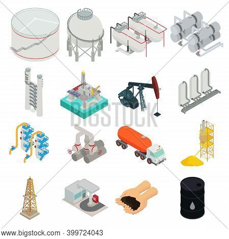 Refinery Plant Icons Set. Isometric Set Of Refinery Plant Vector Icons For Web Design Isolated On Wh