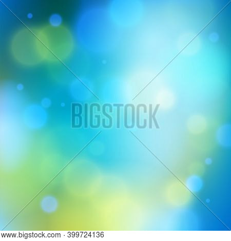 Blurred Nature Background Defocused Beyond The Window, Vector Illustration Out Of Focus Beautiful Su