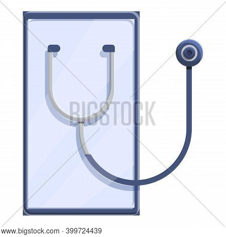 Telemedicine Stethoscope Tablet Icon. Cartoon Of Telemedicine Stethoscope Tablet Vector Icon For Web