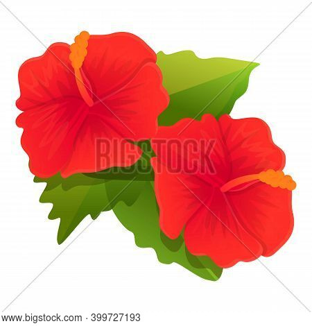 Bloom Hibiscus Icon. Cartoon Of Bloom Hibiscus Vector Icon For Web Design Isolated On White Backgrou