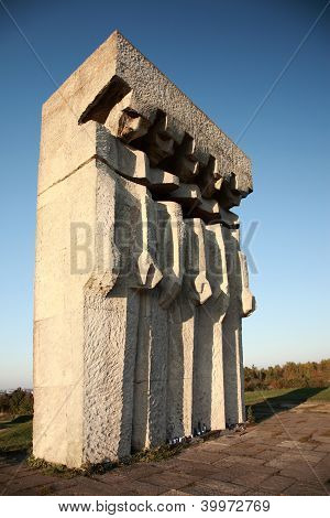 Monument at the former Plaszow concentration camp Krakow Poland poster